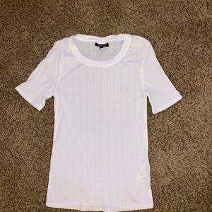 TOPSHOP white ribbed tee shirt EUC 6